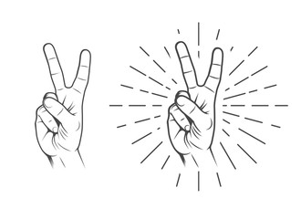 Peace, victory hand sign