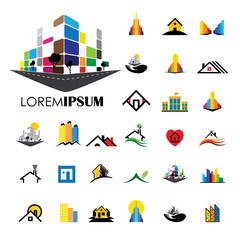 home and house building architecture vector logo icons