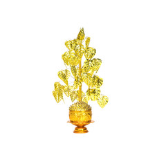 Closeup gold artificial bodhi tree model for decorate in buddhism isolated on white background