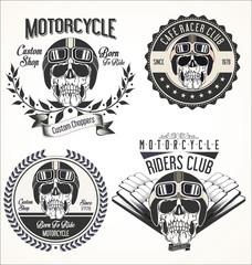 Set of Vintage motorcycle emblems and labels