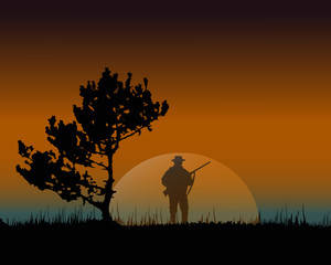silhouette of a hunter. concept background.