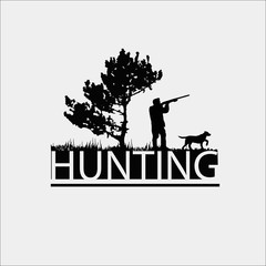 Hunting Club Logo Template. Silhouette of a hunter near a tree on a white background.