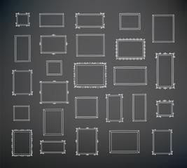 Big set of hand drawn decorative square photo frames. Vintage frames. Hand drawn with chalk on the black chalkboard. Doodles, sketch for your design. Vector illustration.