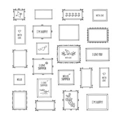 Big set of hand drawn decorative square photo frames. Vintage frames with pictures and words. Doodles, sketch for your design. Isolated on white. Vector illustration.