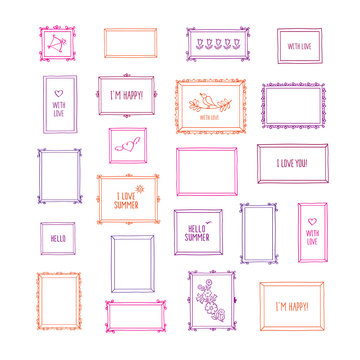 Big set of hand drawn decorative square photo frames. Vintage colored frames with pictures and words. Doodles, sketch for your design. Isolated on white. Vector illustration.