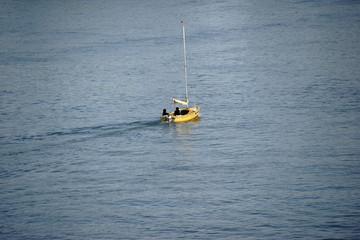 Segelsport / Ein gelbes Segelboot segelt bei schönem Wetter auf dem Rhein.