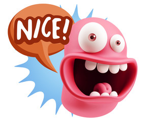 3d Rendering Smile Character Emoticon Expression saying Nice wit