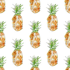 Seamless pattern with fruit.Pineapple.Food picture.Watercolor hand drawn illustration.White background.