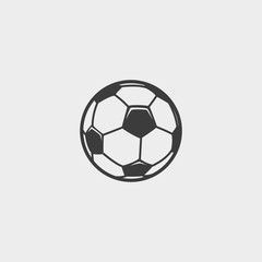 Soccer ball icon in a flat design in black color. Vector illustration eps10