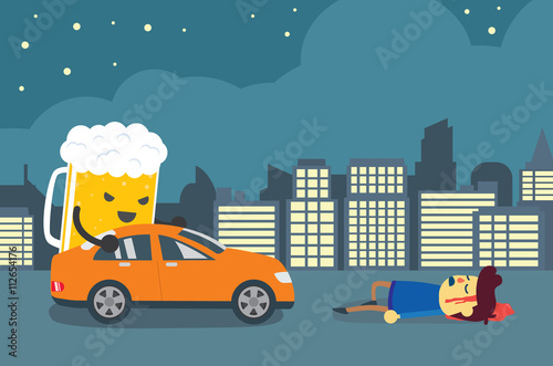 beer control a car to crashed one man die on the road of city at