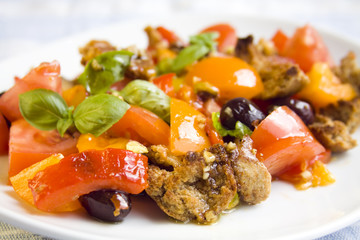 Colorful healthy Tuscan salad with vegetables