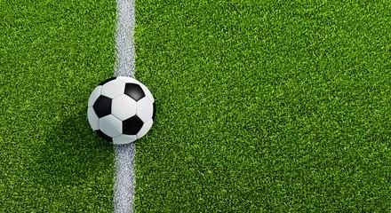 Schwarzweißer Fußball auf Rasen - Anstoss