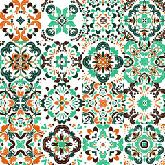 Tuinposter Marokkaanse Tegels Mexican stylized talavera tiles seamless pattern. Background for design and fashion. Arabic, Indian patterns