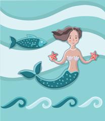 Cute vector art card with little princess mermaid