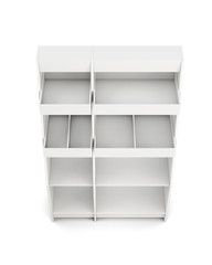 Display rack with shelves isolated on white background. Top view. 3d rendering.