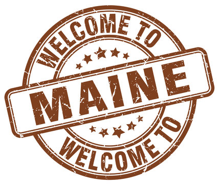 welcome to Maine brown round vintage stamp