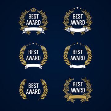 Best award gold laurel. Best award vector gold laurel wreath set. Winner label, leaf symbol victory, triumph and success illustration