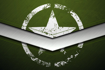 Green metal army background with white damaged military star grunge texture. Vector scratched surface and stainless steel line.