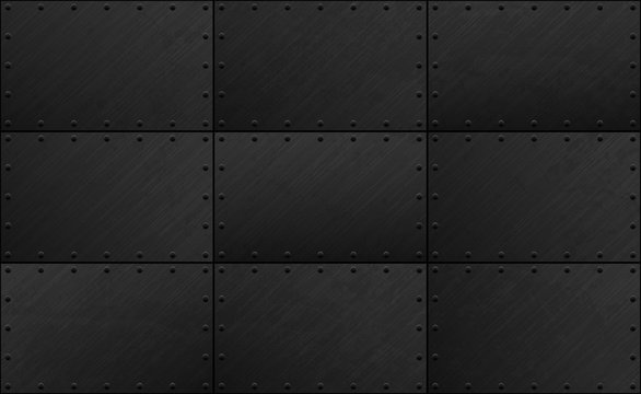 Dark grunge seamless metal plate texture with rivet. Vector scratched riveted iron surface background. Heavy armor industrial design.