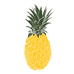 Hand drawn pineapple. Vector background