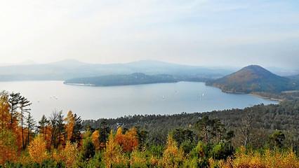 autumnal photo of 'Machovo jezero' lake at the end of tourist season