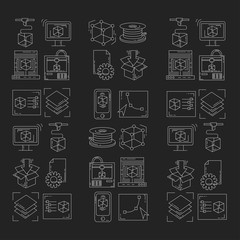 Vector doodle icons 3d printing
