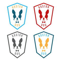 Illustration of set labels with boston terrier. Emblem for the B
