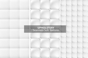 White upholstery textures. Seamless.