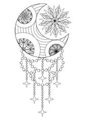 Bohemian Moon and Sun, Hand drawn Zentangle Moon and Sun for adu