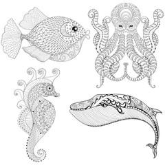 Hand drawn zentangle artistic Octopus, Sea Horse, Whale, Fish fo