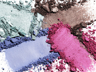 Close up of crushed eye shadows