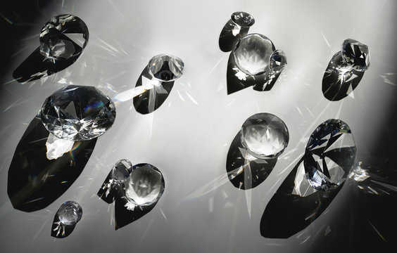 Close up of crystals with reflections