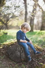 Young boy sitting on rock in woodland