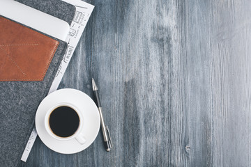 Wooden desktop with coffee