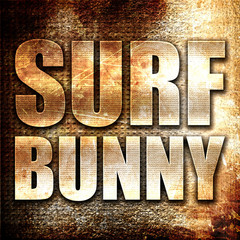 surf bunny, 3D rendering, metal text on rust background