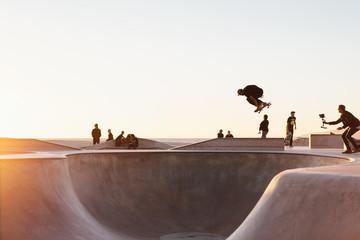 Action at a skateboarding park