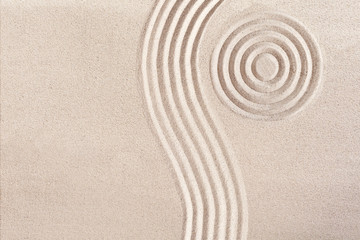 Wave form and circles in a Japanese Zen Garden