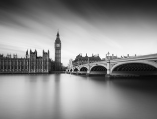 B&W Photo of Big Ben, Westminster Bridge and the Houses of Parliament