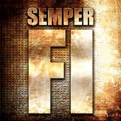 Semper fi, 3D rendering, metal text on rust background