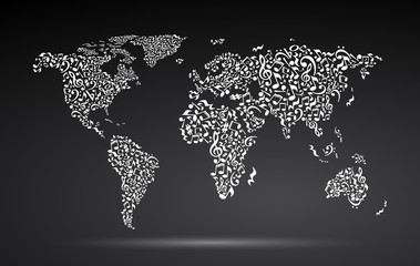 World map from notes on black background. White notes pattern. Black and white design. Map shape. Poster idea.