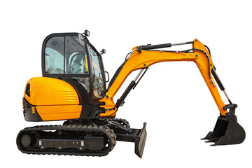 Small or mini excavator isolated with clipping path