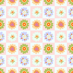 Seamless sweet flower pattern with square