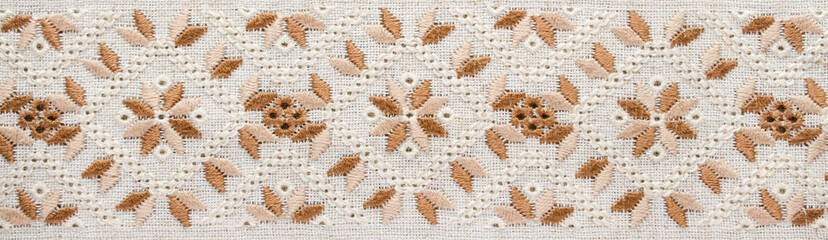 Embroidery background. Embroidery pattern for banner.