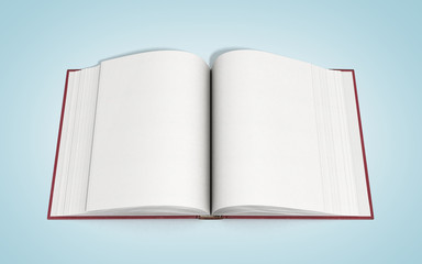 open book 3d render on gradient background