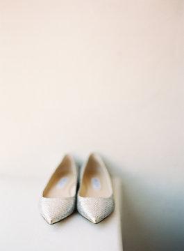 Close up of bridal shoes