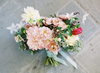 Bouquet of fresh flowers with ribbon
