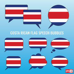 Costa Rican Flag Speech Bubbles