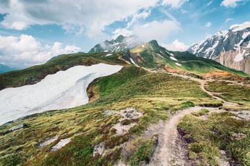 Mountain path leading to mountain peak