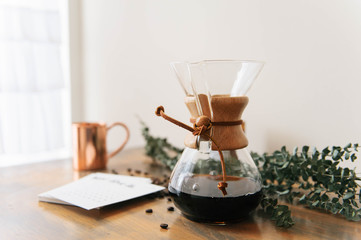 Black coffee in coffee pot