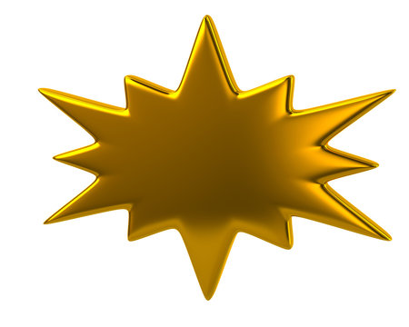 3d illustration of golden bursting icon